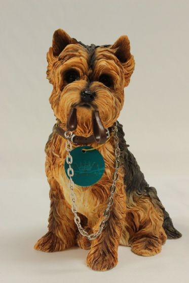 Brand new Boxed Yorkshire Terrier Sitting 'Walkies' Ornament Gift FigureFigurine